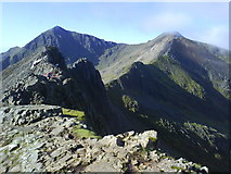 SH6155 : Crib Goch, looking towards Snowdon (1085m) and Garnedd Ugain (1065m) by Adele