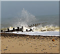 TG3732 : Waves battering wooden groyne : Week 44