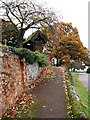 Dist:0.1km<br/>The gentle slope of the path leads up to the lych gate of St Andrew's church. On the left, vervain are still flowering in November. Beyond is the autumnal oak and in the distance the Ley Arms sits on the corner of the cross roads.
