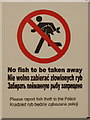 TQ1379 : &quot;No fish to be taken away&quot; - in Polish and Russian by David Hawgood