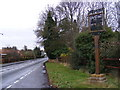 TM1747 : B1077 Westerfield Road &amp; Westerfield Village Sign by Adrian Cable