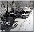 SD5346 : Mill Pond Weir St Johns Wood Calder Vale after Snowfall by Anthony Robinson