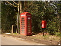SU0609 : Woodlands: postbox № BH21 55 and phone, Church Hill by Chris Downer
