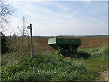 TL1054 : Amazone fertiliser spreader by the footpath by Michael Trolove