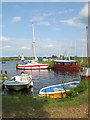 TG3504 : Boats moored by the Buckenham sailing club : Week 24