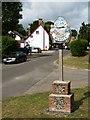 TL2842 : Steeple Morden village sign by Mike W Hallett