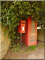 SY4596 : Salway Ash: postbox № DT6 55 and phone by Chris Downer
