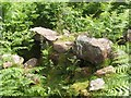 NS4380 : Remains of wall at lime-kiln site by Lairich Rig