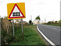 TL6483 : Level crossing sign south of Shippea Hill station by Evelyn Simak