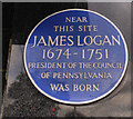 Photo of James Logan blue plaque