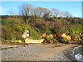 SW7827 : WW2 pillbox at the eastern end of Porth Sawsen beach by Rod Allday