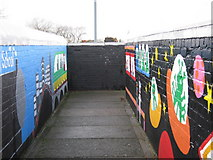 SP1193 : Mural on Sheffield Road / Green Lanes footbridge by Michael Westley