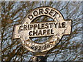 SU0912 : Cripplestyle: detail of crossroads signpost by Chris Downer