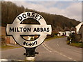 ST8001 : Milton Abbas: detail of village centre signpost by Chris Downer