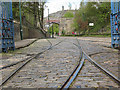 SK3454 : Tram tracks entering the depot at Crich by Stephen Craven