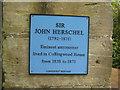 Photo of John Herschel blue plaque