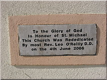H5401 : Plaque on Clifferna Church by Kieran Campbell
