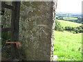 SD6492 : Howgill Lane, gatepost with benchmark by Roger Templeman