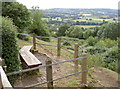 ST5856 : Rustic wooden seating at the viewpoint, Prospect Stile by Neil Owen
