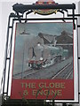 TQ9063 : The Globe and Engine Pub Sign by David Anstiss