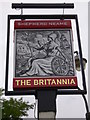 "SU9949 : The sign at ""The Britannia"" PH in Millmead, Guildford by Shazz"