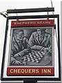 TQ9357 : Chequers Inn, Pub Sign, Doddington by David Anstiss