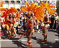 Dist:0.1km<br/>These dancers are in Ladbroke Grove and probably have a couple of hours of slow progression along the carnival route, with crowds along the streets all the way.