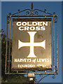 TQ5312 : Golden Cross sign by Oast House Archive