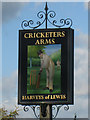 TQ5105 : The Cricketers Arms sign by Oast House Archive