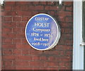 Photo of Gustav Holst blue plaque