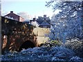 SP2872 : Frost on trees at Townpool Bridge by John Brightley