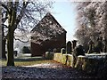 SP2872 : 'The Barn' and the churchyard wall, Abbey Fields by John Brightley