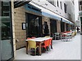 SP2871 : Snow-covered tables outside the Almanack, Kenilworth by John Brightley