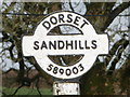 ST5800 : Sandhills: detail of more easterly finger-post by Chris Downer