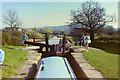 SJ9066 : Going down in lock 4, Bosley, 1984 by Robin Webster