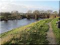SJ3845 : The old bridge at Bangor-is-y-coed from the riverside by John S Turner