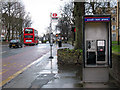 TQ4177 : Bus stop and phone on Charlton Road by Stephen Craven