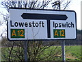TM4171 : Roadsign on the A144 Bramfield Road by Adrian Cable