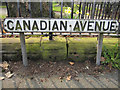 SJ4167 : 'Canadian Avenue' street sign and a bench mark by John S Turner