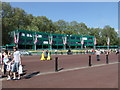 TQ2979 : Press stands in  Green Park in preparation for the Royal Wedding by PAUL FARMER