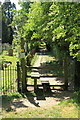 TL8046 : Footpath from village green, Cavendish by Rob Noble