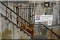 NU2232 : Steps to a landing stage at Seahouses Harbour by Phil Champion