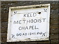 NY8900 : Date stone, Keld Methodist Chapel by Miss Steel
