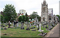 TQ2477 : St Thomas of Canterbury, Rylston Road, Fulham - Churchyard by John Salmon