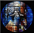 TQ2480 : St Francis of Assisi, Pottery Lane - West stained glass window by John Salmon