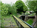 SJ9152 : Disused railway by Stockton Locks, Staffordshire by Roger  Kidd