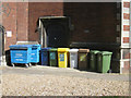 TL4557 : St Paul's church recycling corner by Sebastian Ballard