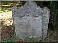 TL1554 : Roxton churchyard: early 18th century gravestone by Christopher Hilton
