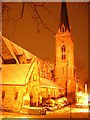 TQ3372 : St Stephen's, South Dulwich, on a snowy night by Christopher Hilton