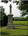NJ4313 : War memorial with fields, at Glenkindie by Trevor Littlewood